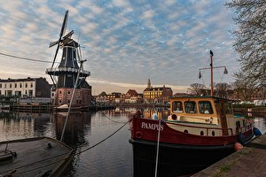 Haarlem Windmill at Spaarne River